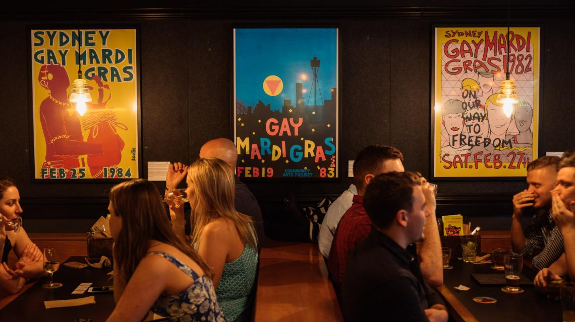 Mardi Gras posters at The Clock Surry Hills