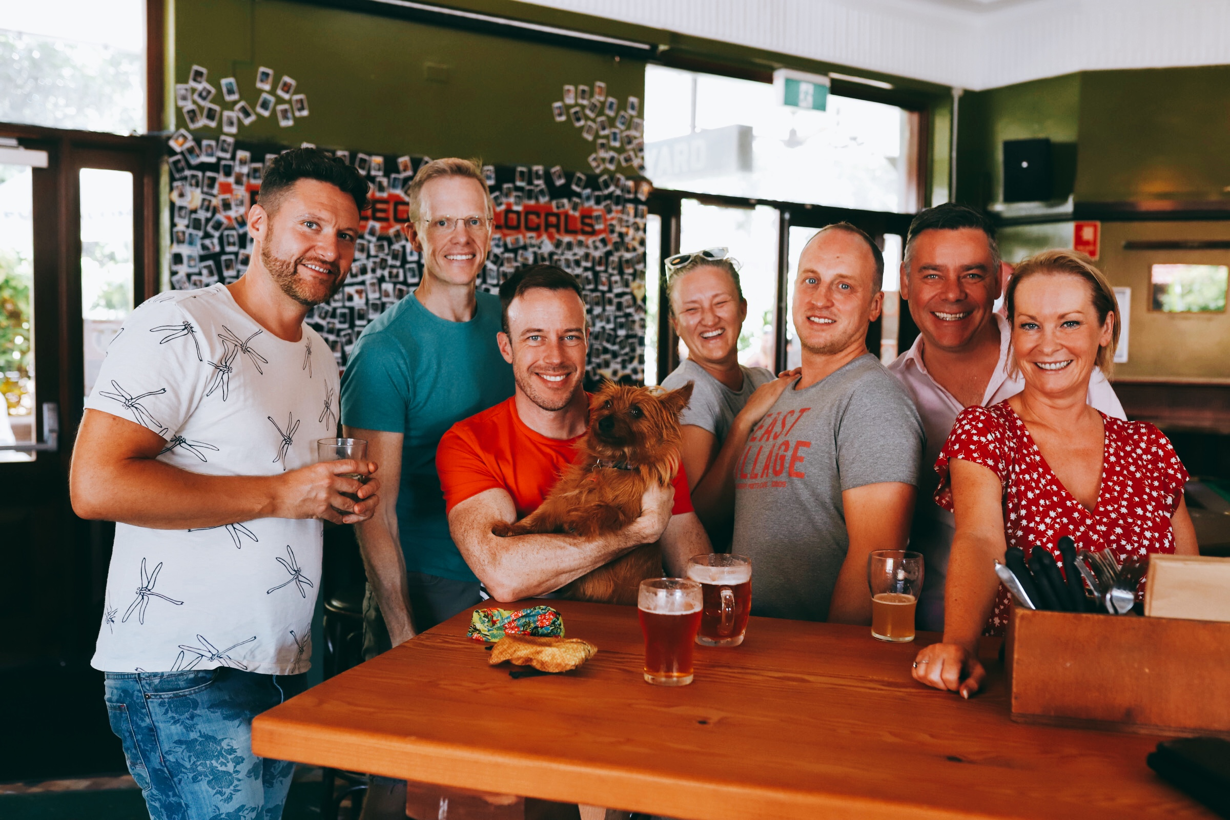 A group of people and a dog at Erskineville Hotel