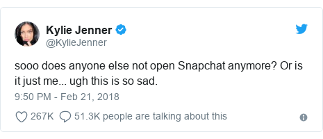 """Tweet by Kylie Jenner: """"So does anyone else not open Snapchat any more? Or is it just me. Ugh, this is so sad."""""""