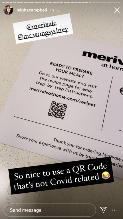 Instagram Story showing Merivale at Home recipe card with QR code