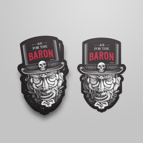 Die cut stickers in the shape of a head with top hat for Campari Group