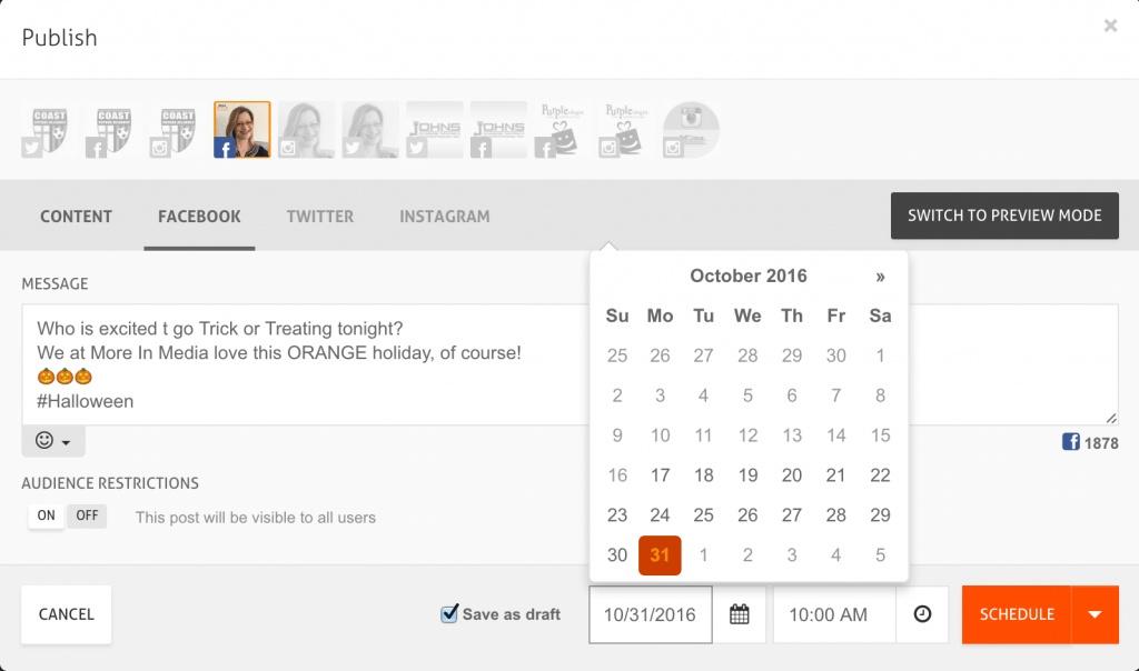 Agora pulse social scheduling screenshot