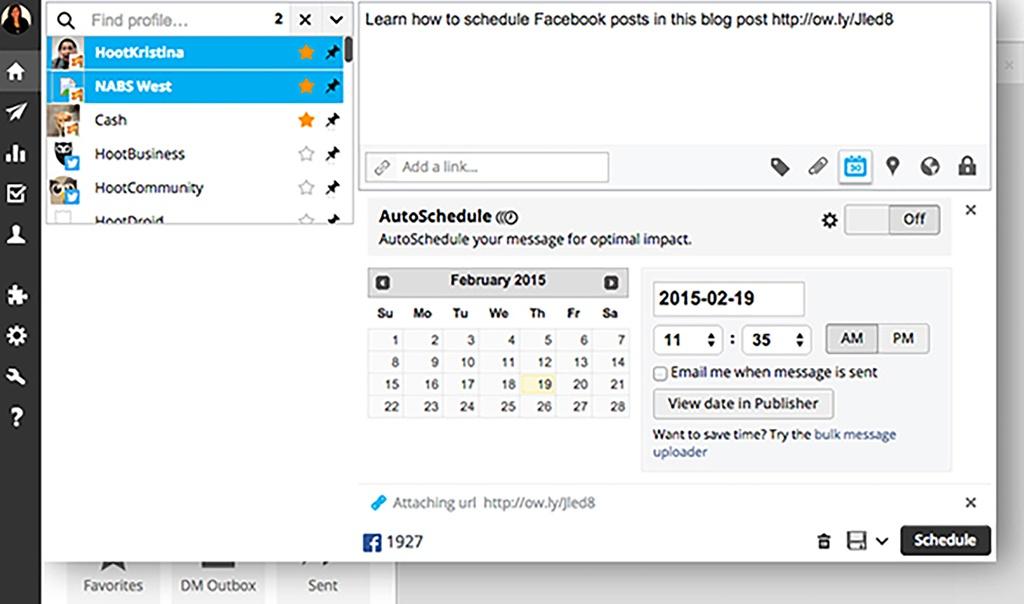 Hootsuite social scheduling screenshot