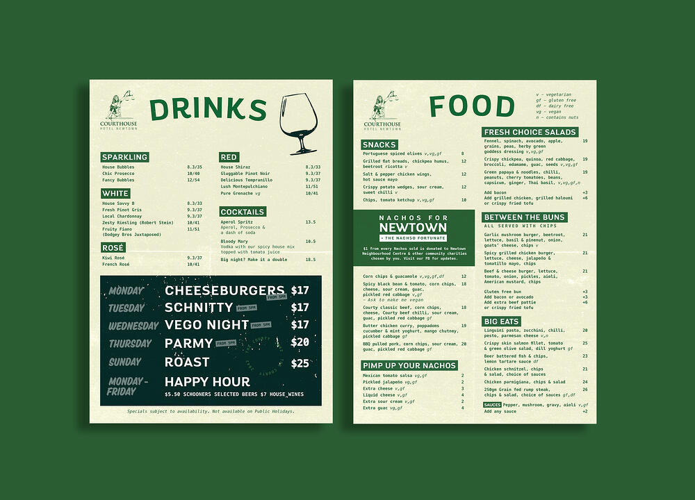 A menu design with a good layout that is easy to read