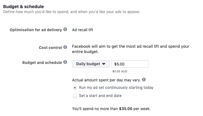 set your ad budget