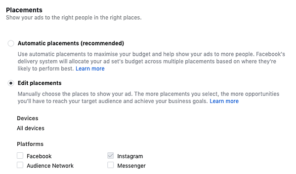 Screenshot showing Facebook Ads Manager and the different placements