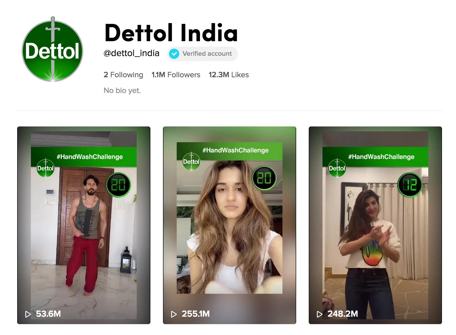 Dettol India's TikTok page featuring #HandWashChallenge