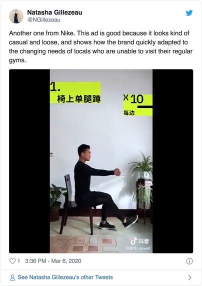 Nike's at home workout video on TikTok