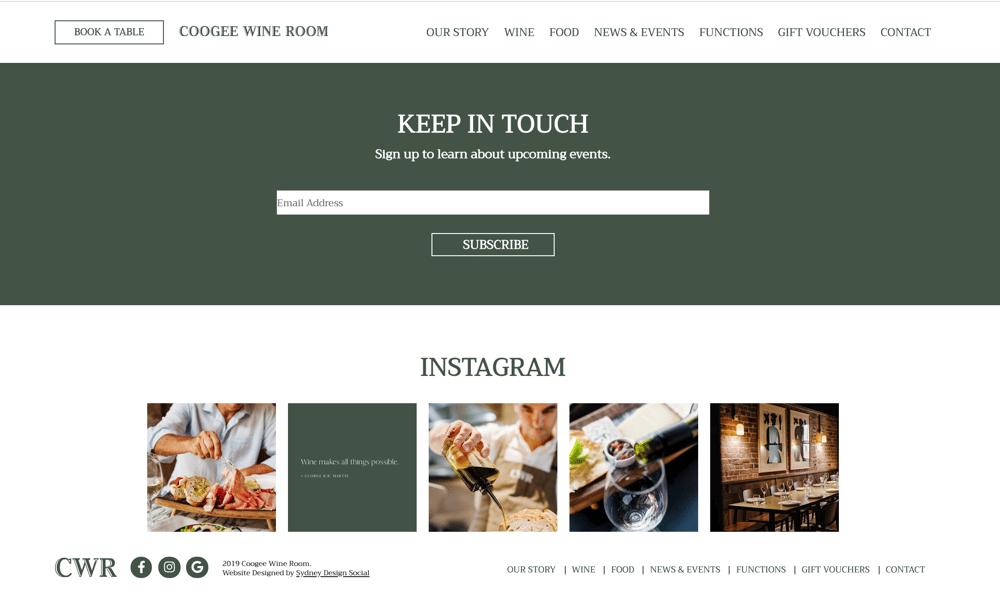 Sydney Design Social's Web Design for Coogee Wine Room
