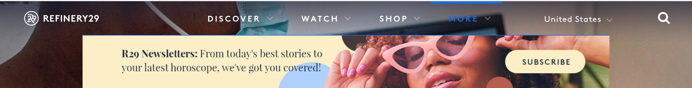 Sign up form from Refinery29