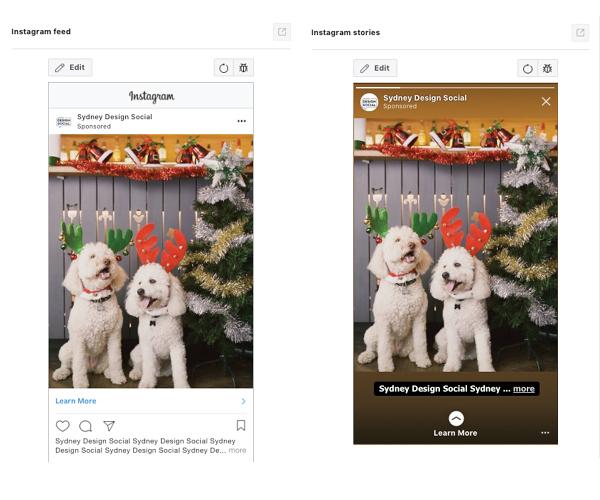 Instagram screenshots showing Story ads