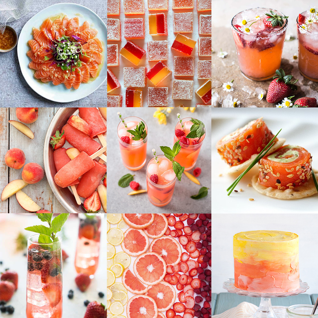 Collage of food and drink hospitality marketing featuring Pantone Colour of the Year 2019 Living Coral