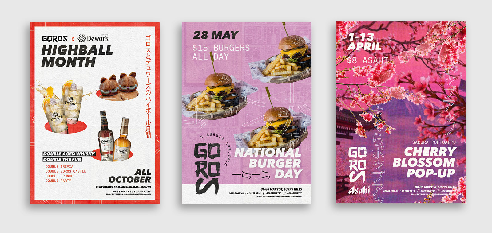 graphic design poster designs for events at goros sydney