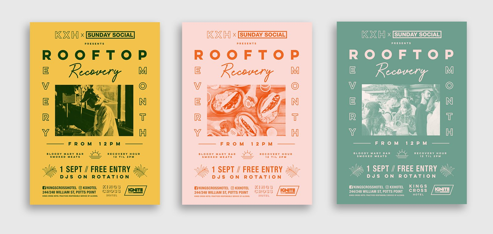three posters designs for the rooftop recovery sessions at the kings cross hotel