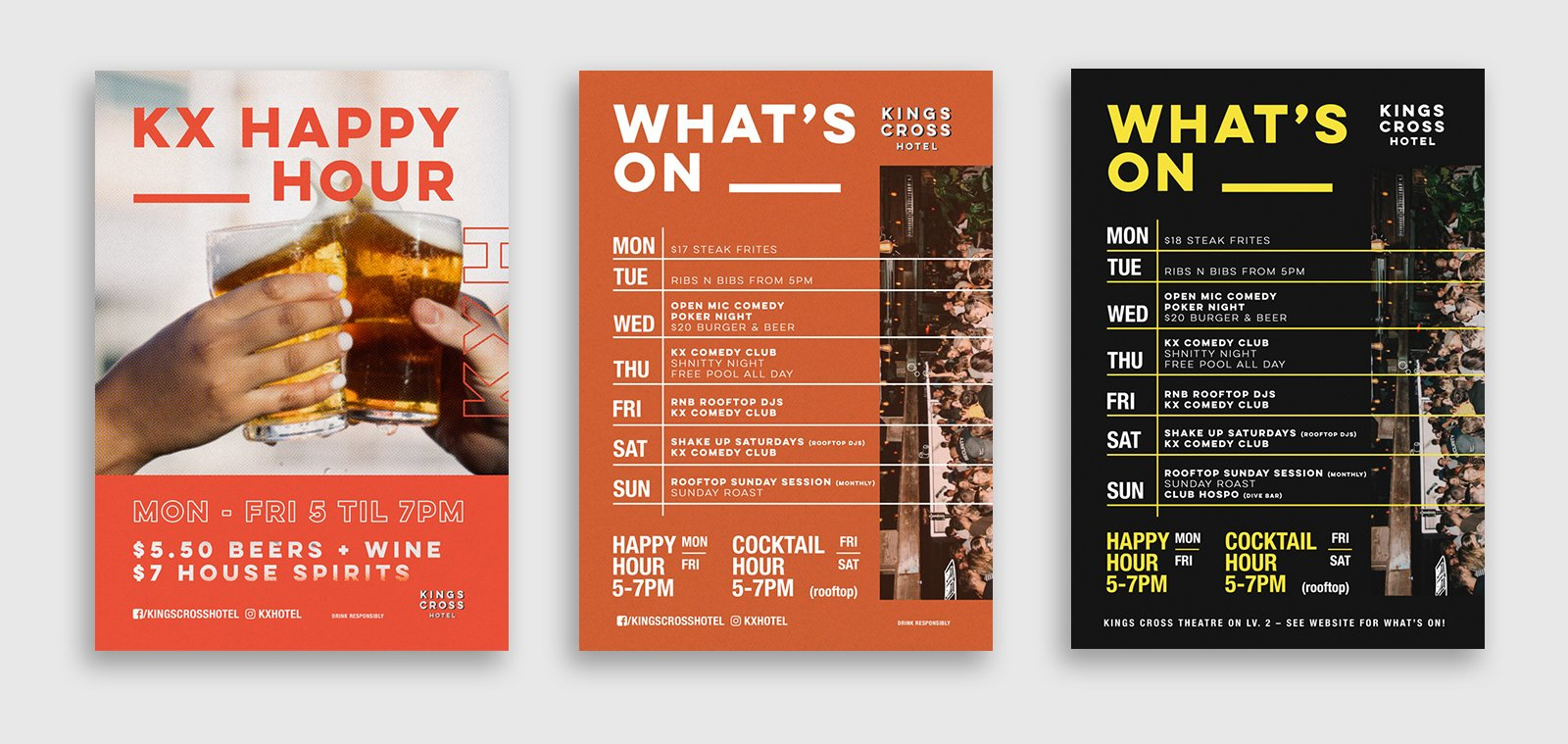 three poster designs advertising happy hour and what's on at the kings cross hotel