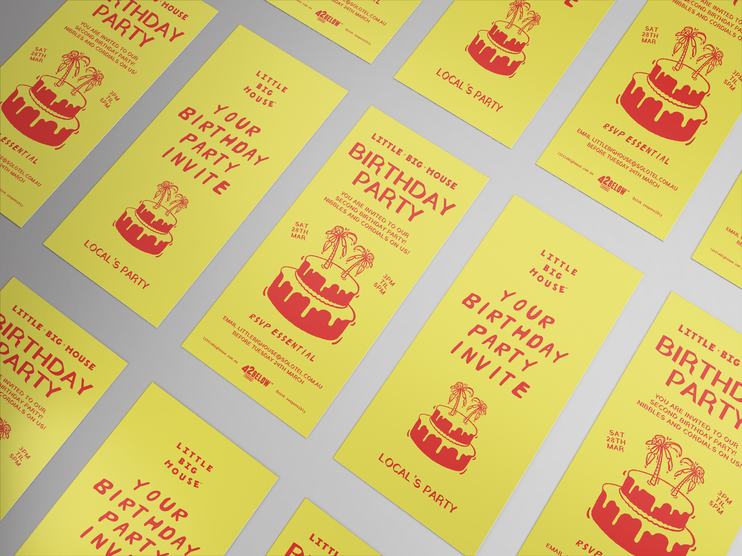 invitation design for a locals only birthday party event at little big house