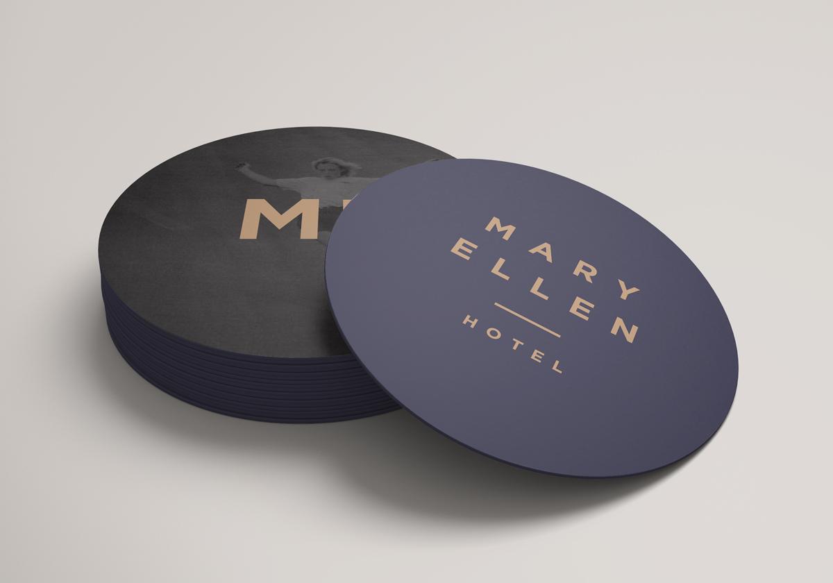 Distil coaster designs for Mary Ellen Hotel