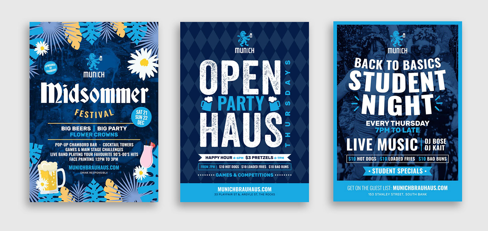 Three event poster designs for Munich Brauhaus