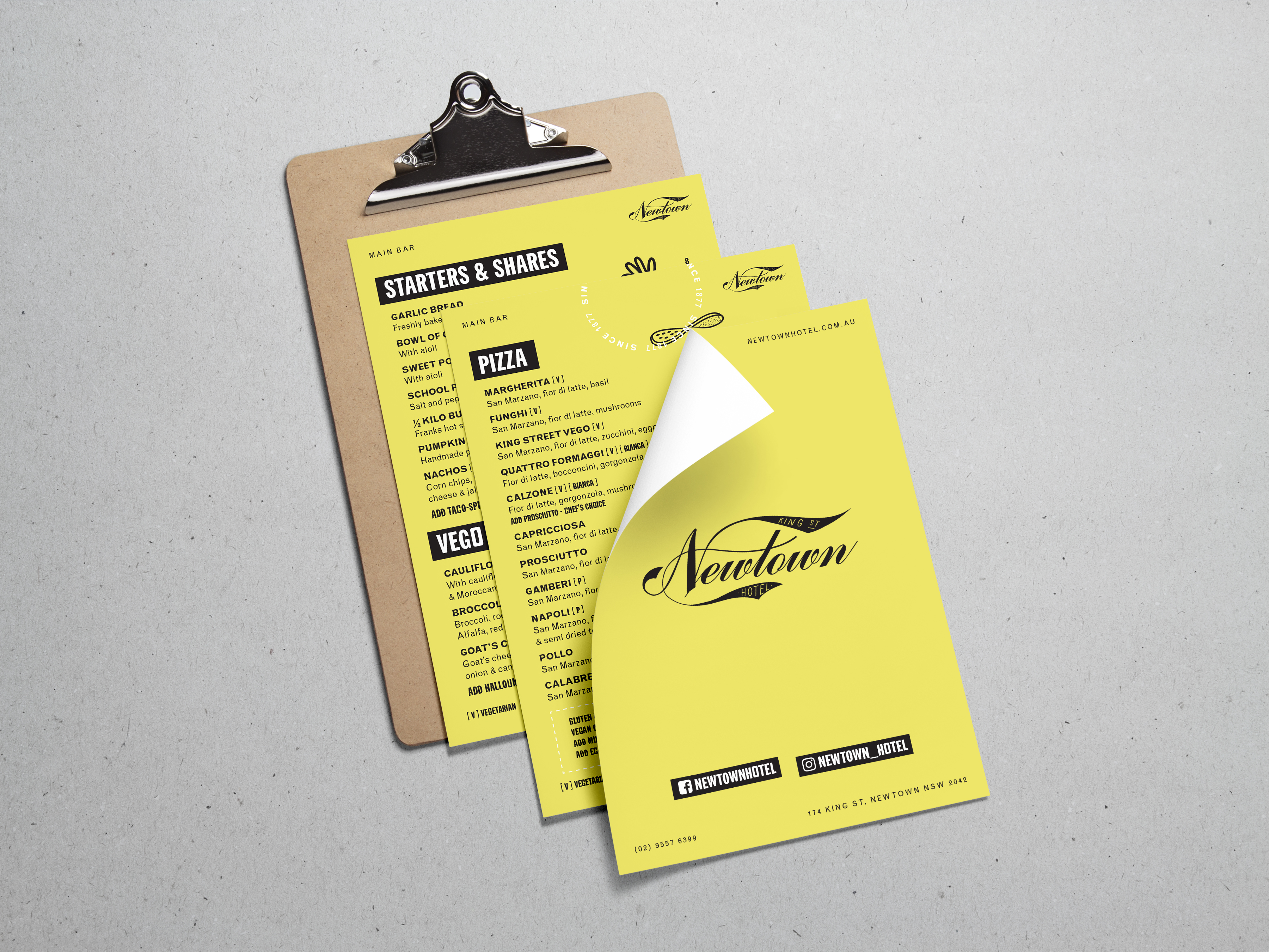 three page yellow menu design for newtown hotel