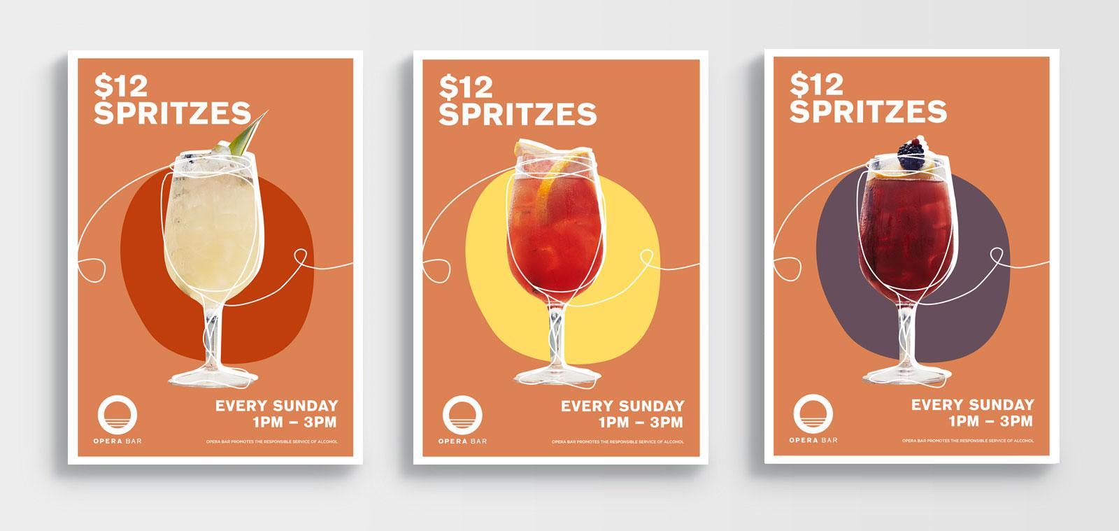 poster designs for cocktail spritz promotions at opera bar sydney