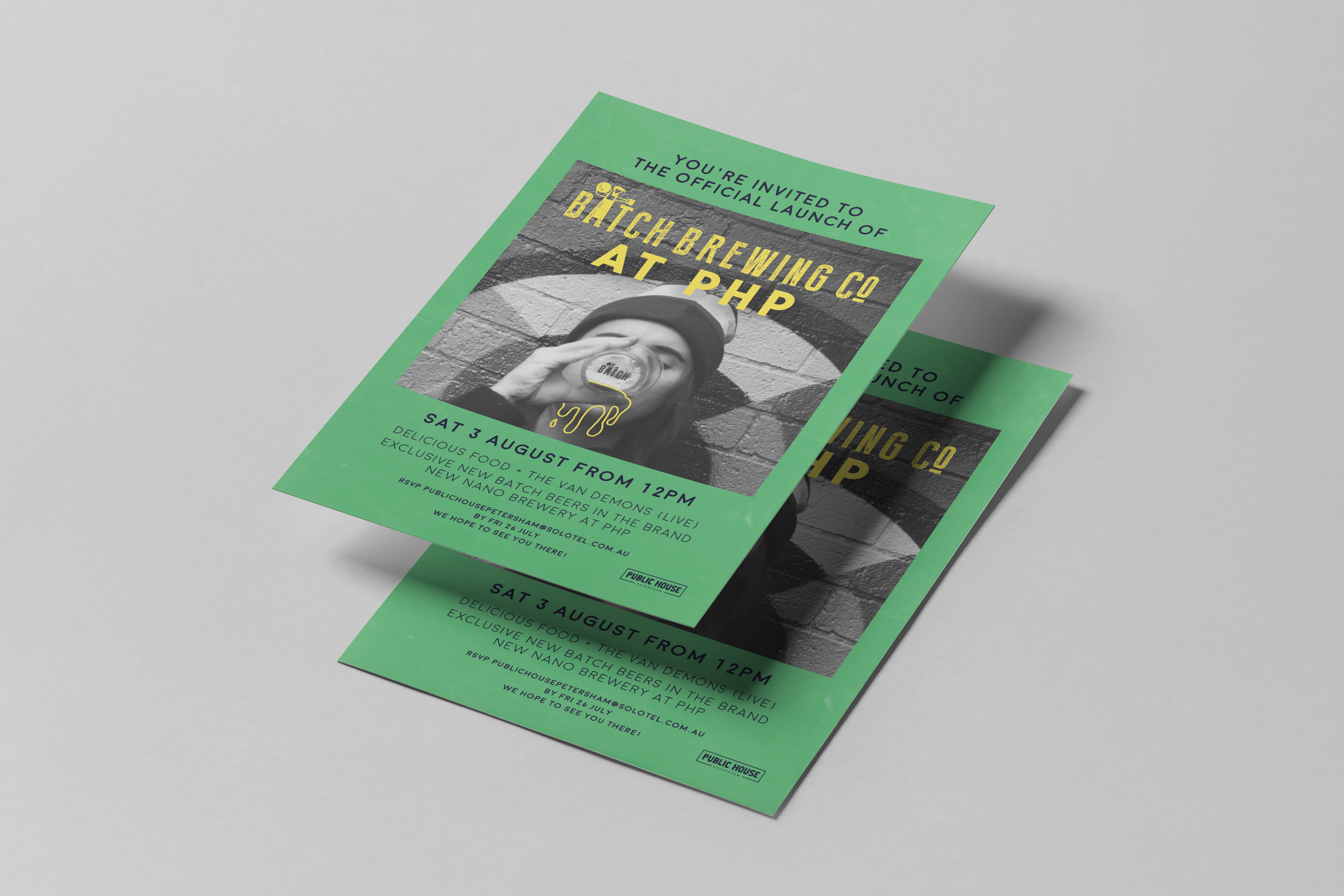 invitation design for an event at public house petersham