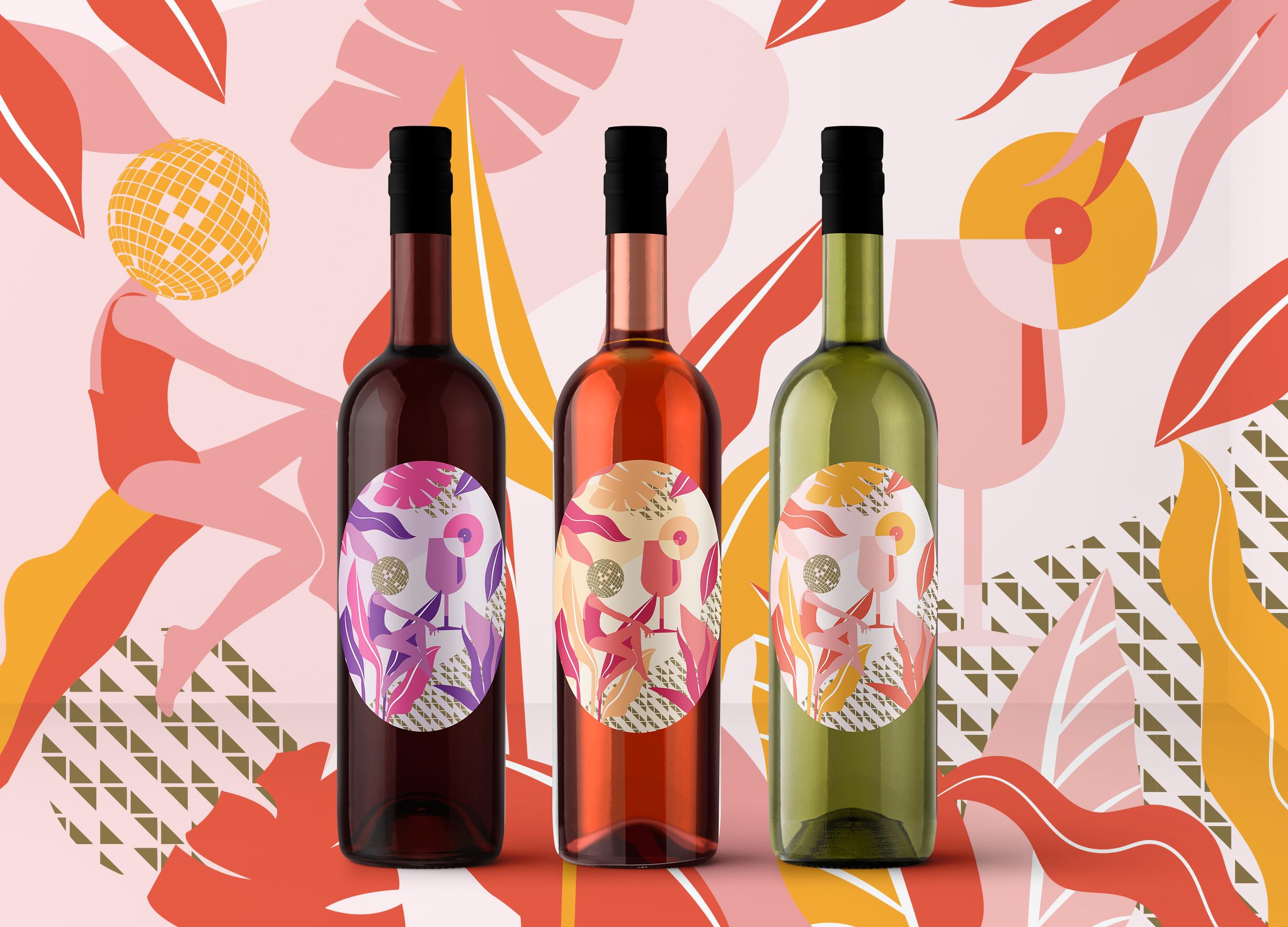 distil prince of york oval wine label illustration