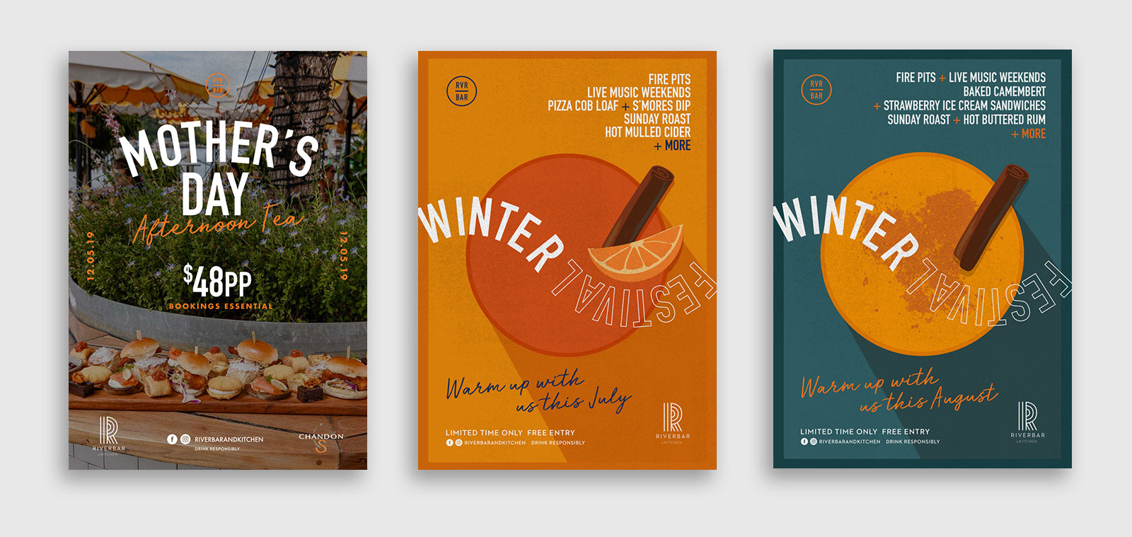 Graphic poster designs for Riverbar by distil