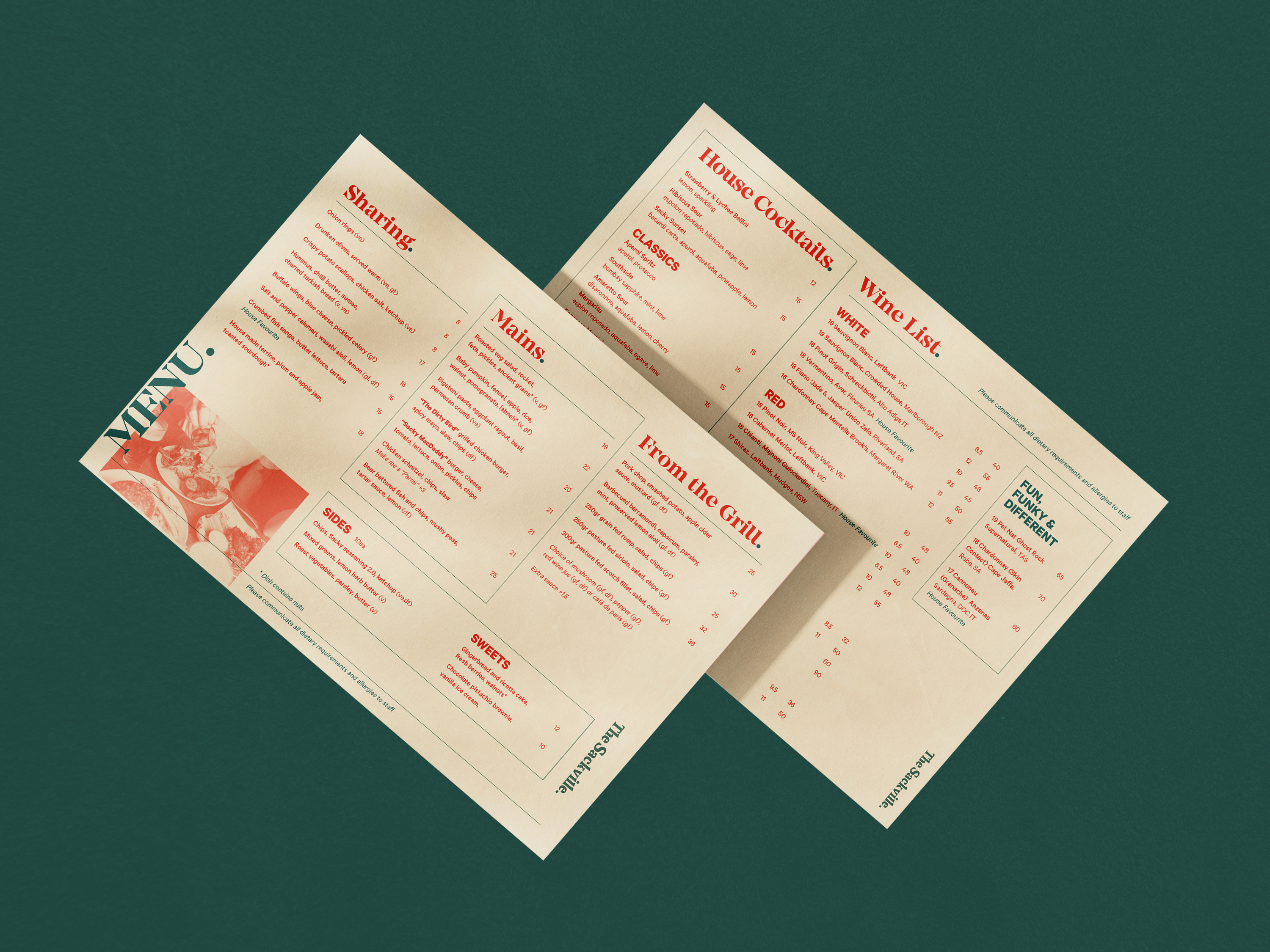 double sided menu design for the sackville