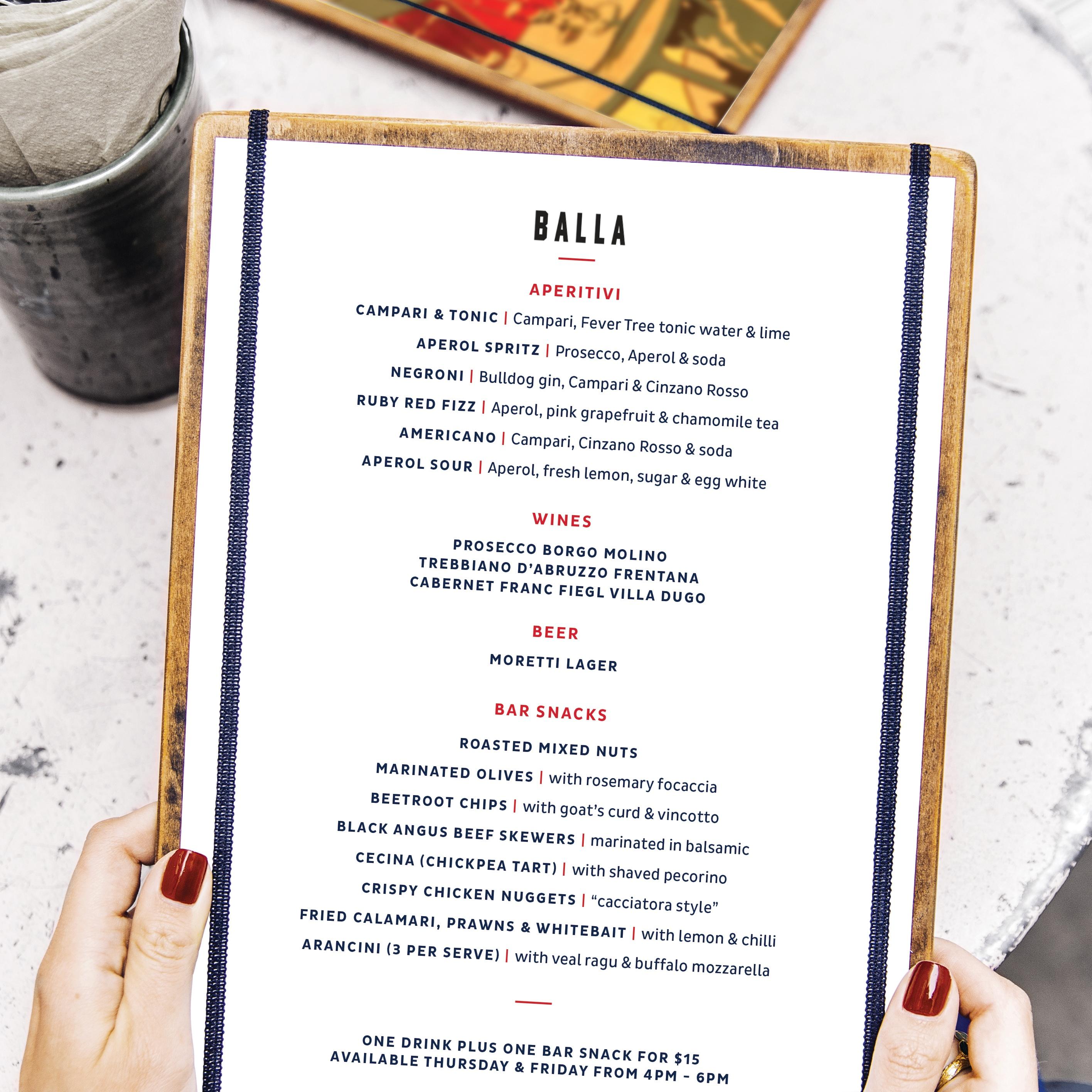 Distil menu design