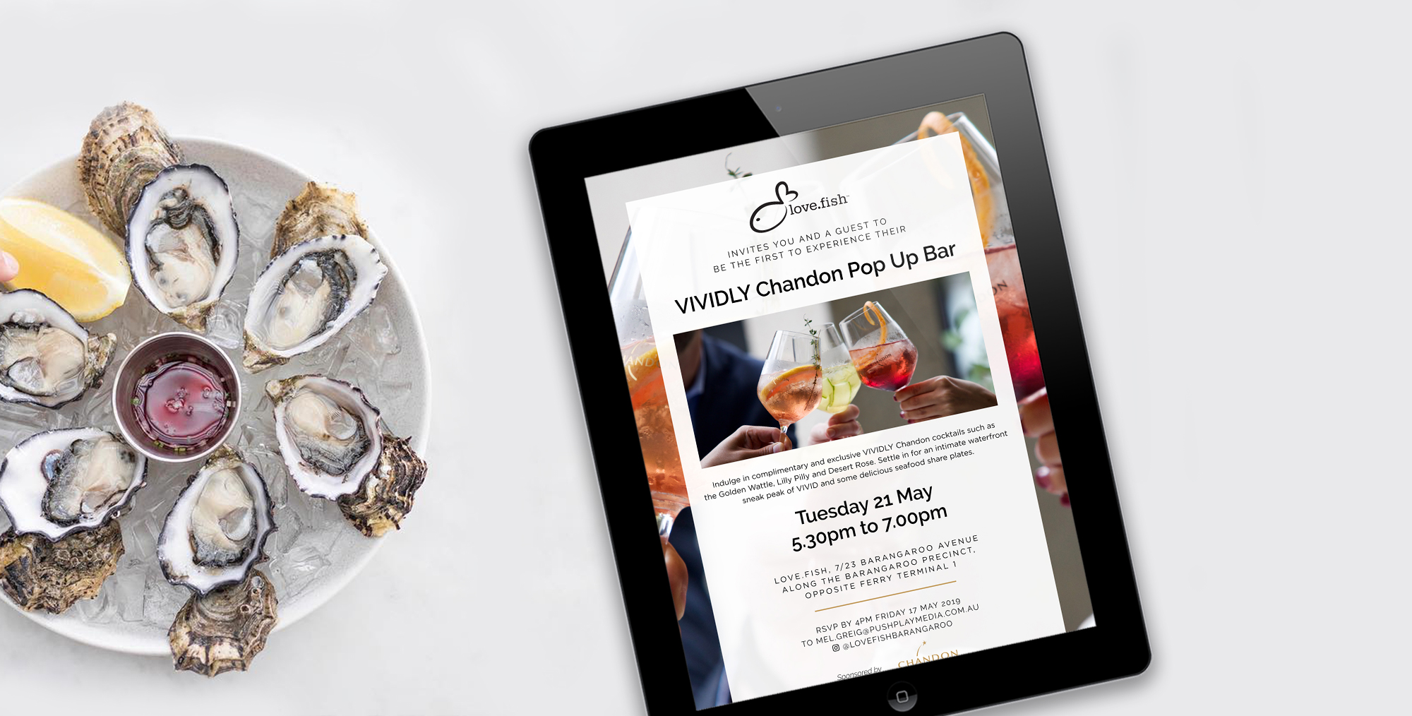 love fish digital email invite design chandon event vivid sydney