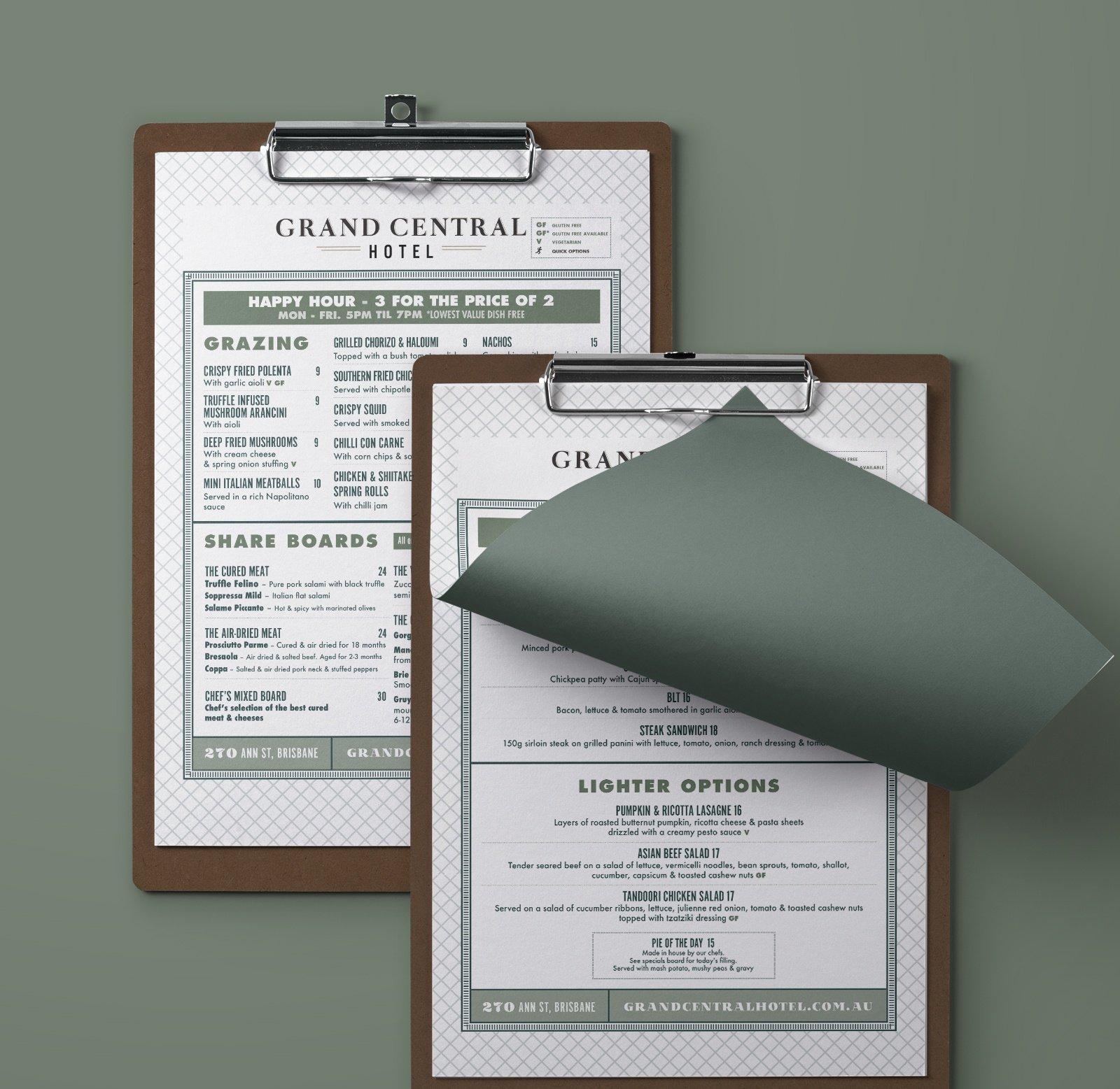 menu design olive green wooden clipboard by sydney design social grand central hotel brisbane