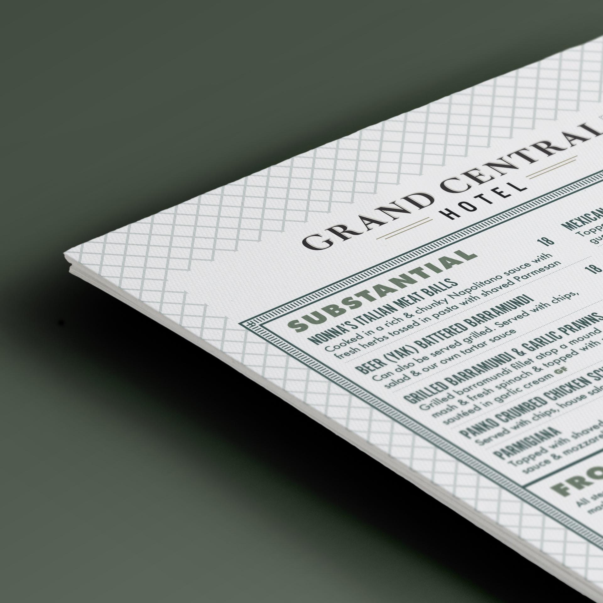 sydney design social grand central hotel brisbane menu design