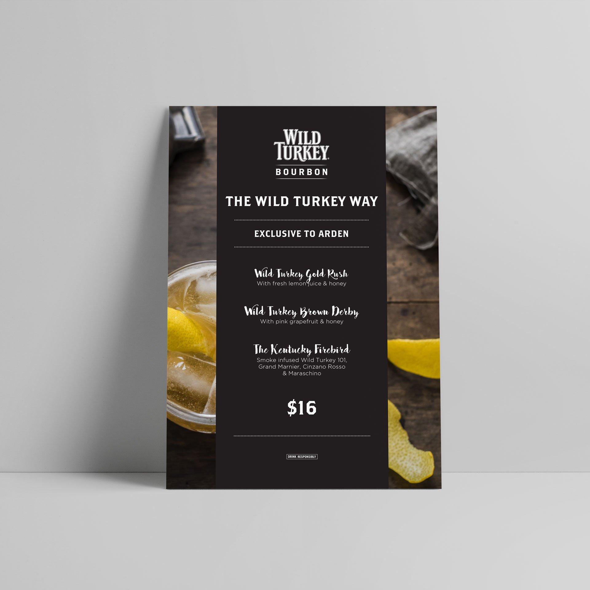 menu design for wild turkey