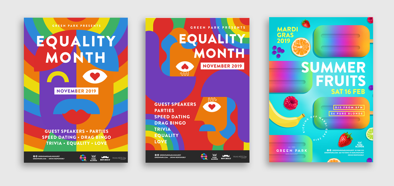 series of poster designs for mardi gras equality month at greenpark by sydney design social