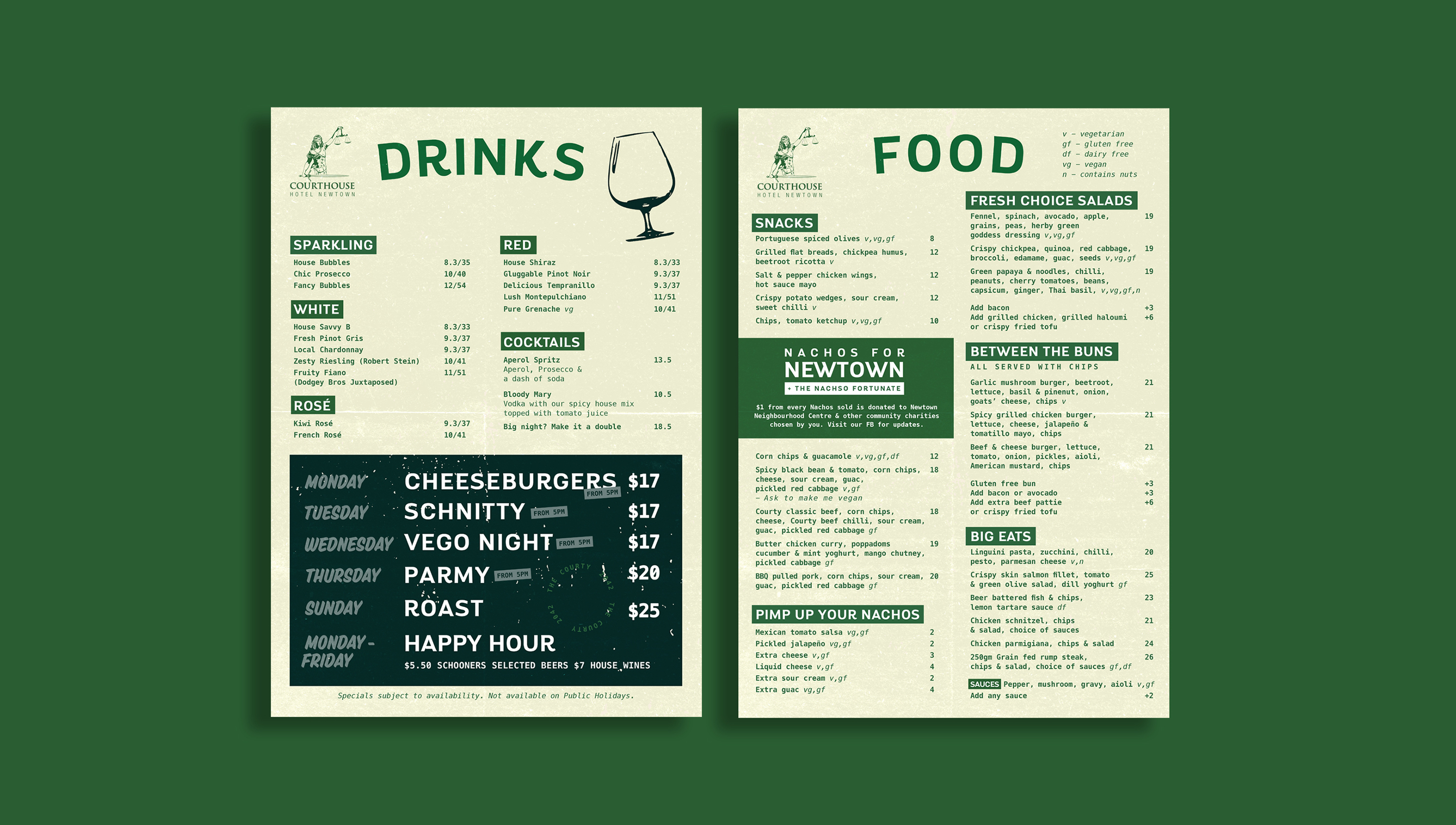 food and drinks menu design for the courthouse hotel sydney