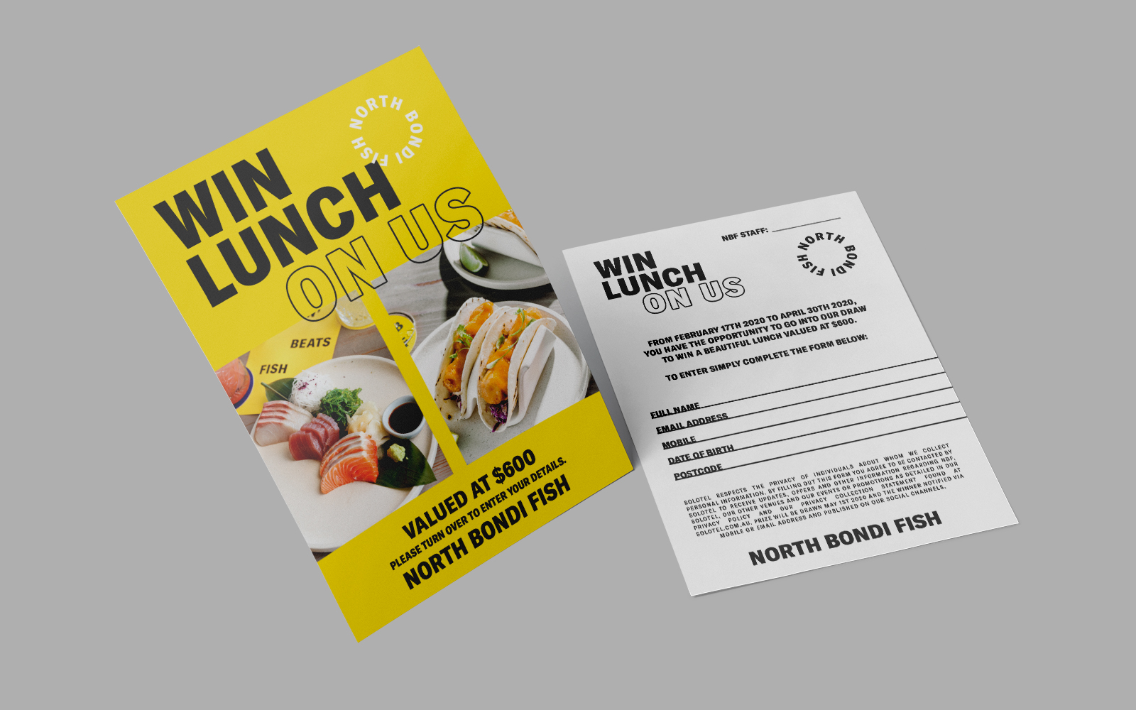 distil north bondi fish lunch competition flyer design