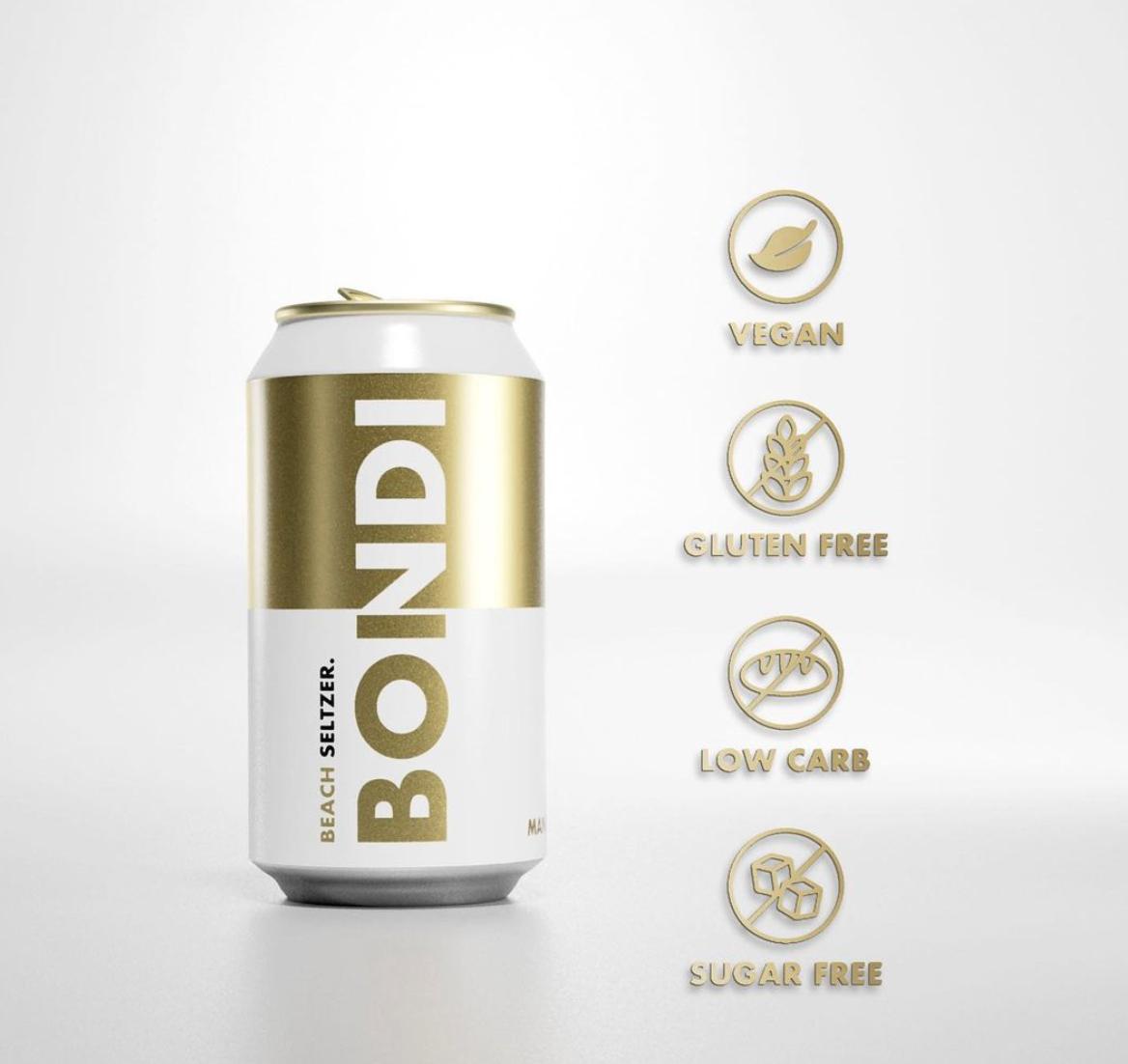 bondi brewing seltzer packaging design