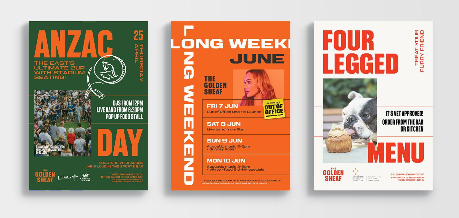 golden sheaf double bay anzac day long weekend dog menu posters