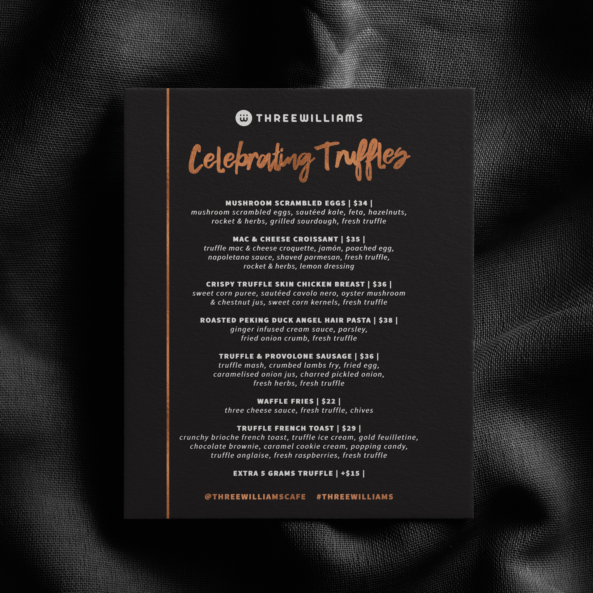 menu design for three williams sydney