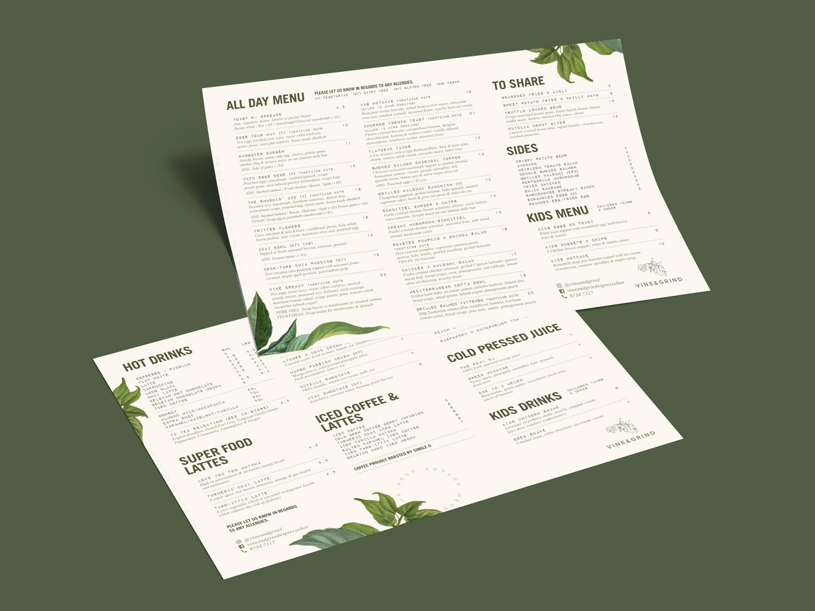 vine and grind leafy menu design on green